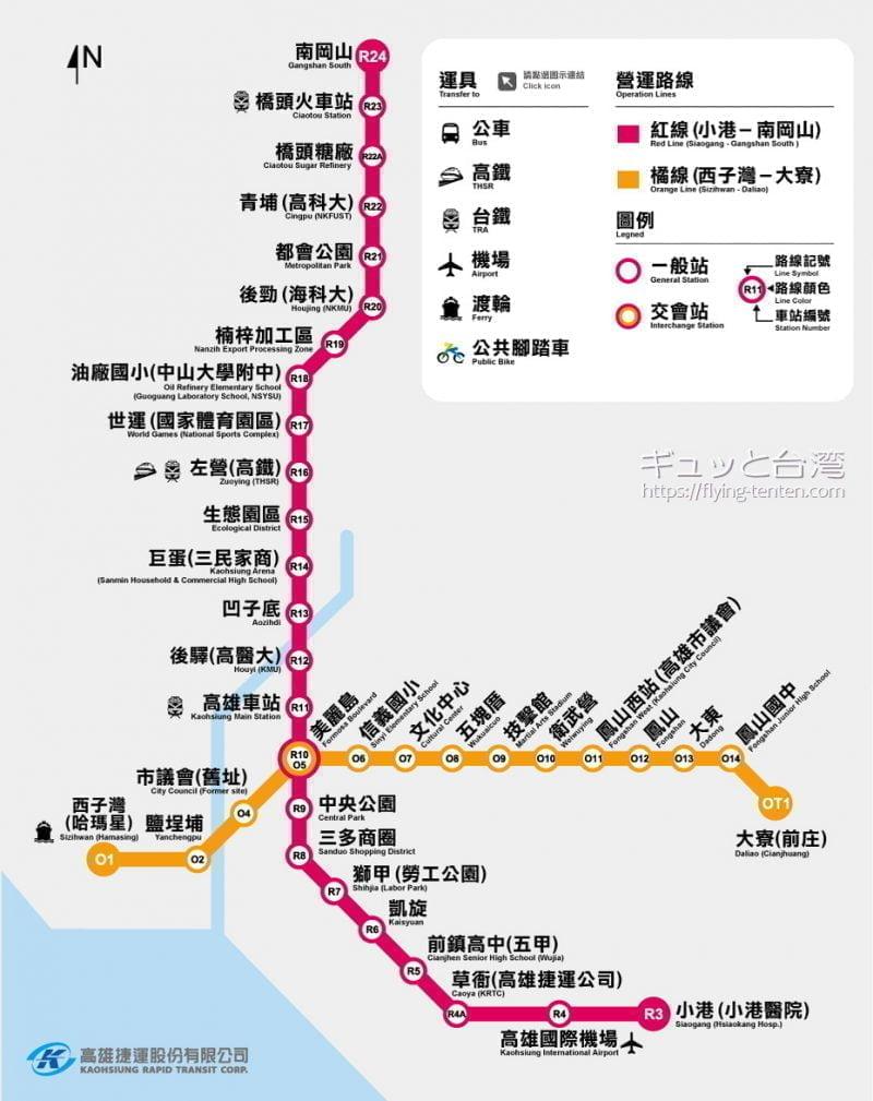 高雄捷運メトロ路線図